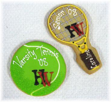 Tennis party favor cookies, tennis racket cookies, tennis ball cookies, tennis cookies