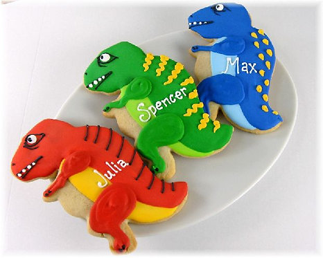Dinosaur cookie party favors, dinosaurs, hand decorated dinosaur cookies, dinosaur cookies Los Angeles