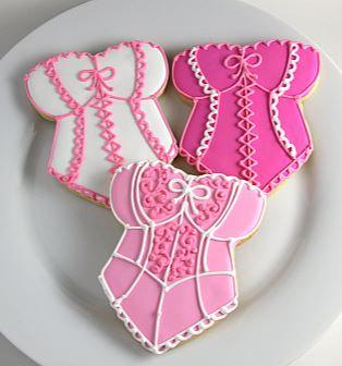 Corset cookies, lingerie cookies, Bridal shower cookies, wedding shower cookies