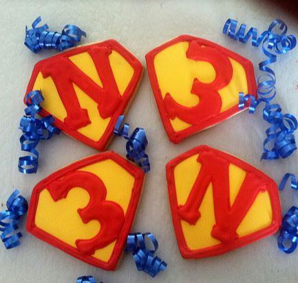 Superman cookies, superhero cookies, Super Hero party cookies, Superman