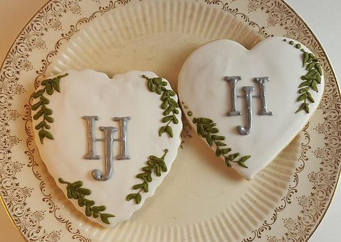 heart cookies, monogram cookies, wedding shower cookies, bridal shower cookies, wedding cookies Los Angeles
