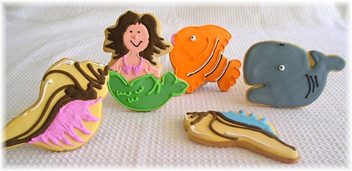 Mermaid cookies, fish cookies, whale cookies, seashell cookies, Mermaid cookies Los Angeles