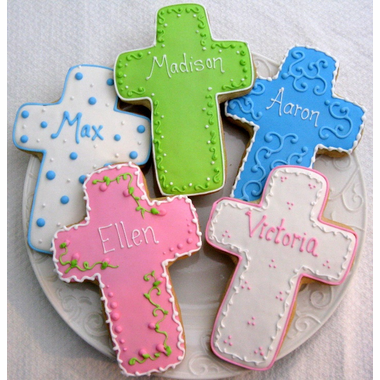 cross cookies Los Angeles, confirmation cookies, baptism cookies, religious cookies