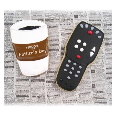 coffee cup cookie, remote control cookie, Father's Day cookies, Father's day cookies Los Angeles