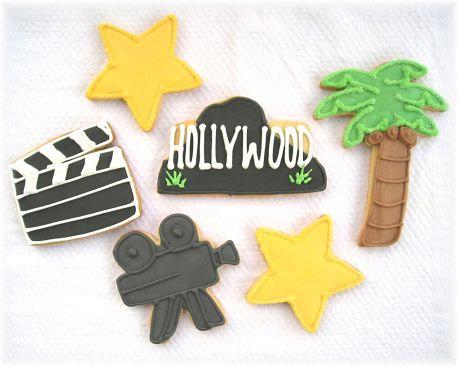 Hollywood cookies, clap board cookies, star cookies, movie camera cookies, palm tree cookies, movie cookies Los Angeles