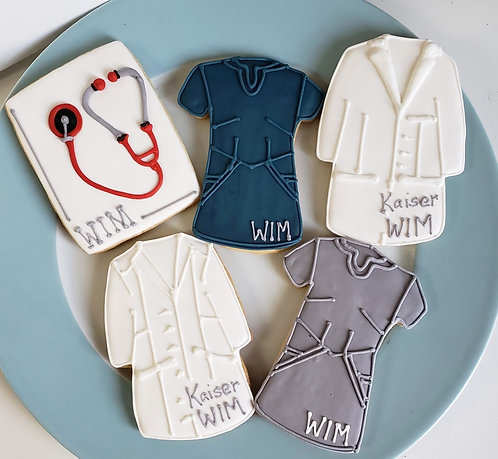 Doctor coat cookies, Stethoscope cookies, Lab coat cookies, Scrub cookies