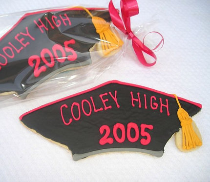 Graduaton cap cookies, custom school color cookies, graduation cap cookies Los Angeles
