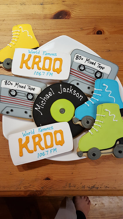 Roller skate cookies, Record cookies, Cassette cookies, 70s party favor cookies, 70's party cookies