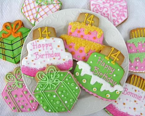 Birthday cake cookies, present cookies, birthday cookie party favors, birthday party cookies, cake cookies Los Angeles