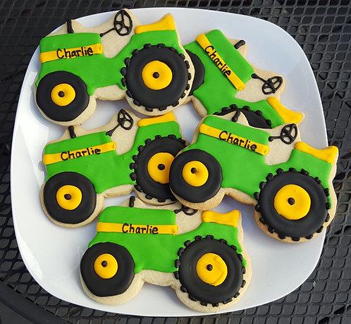 Truck cookies, tractor party favor cookies, John Deere cookies, John Deere, tractor party cookies