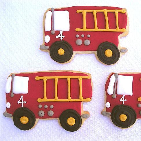 Firetruck cookies, fire truck cookies, truck cookies, truck party cookies, fire engine cookies Los Angeles