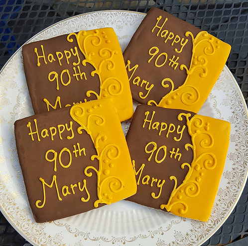 Adult party cookies, 90th birthday party cookies, classy birthday party cookies, 50th birthday, 75th birthday cookies