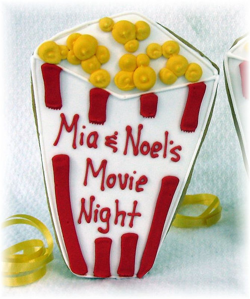 Popcorn box cookie, movie night cookie, movie night party, sugar cookie Los Angeles
