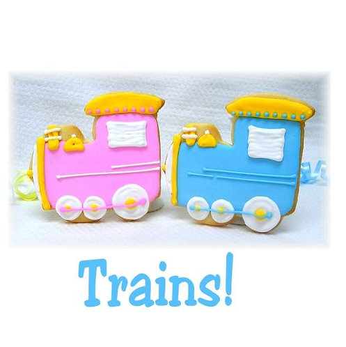 Baby shower train cookies, train birthday party cookies, train party cookies