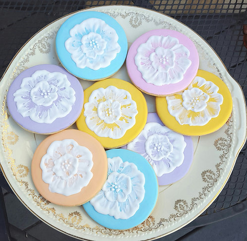 Flower cookies, embroidery style cookies, hand decorated sugar cookies Los Angeles