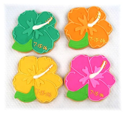 Hibiscus flower cookies Los Angeles, Hawaiian flower cookies, Luau cookies, Luau cookies Los Angeles