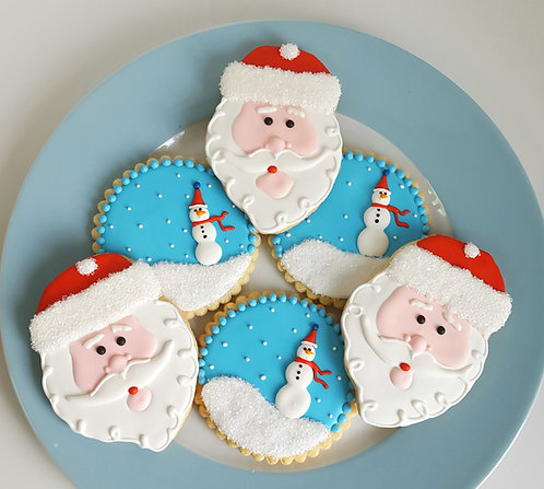 Santa cookies, Christmas cookies, snow globe cookies Los Angeles