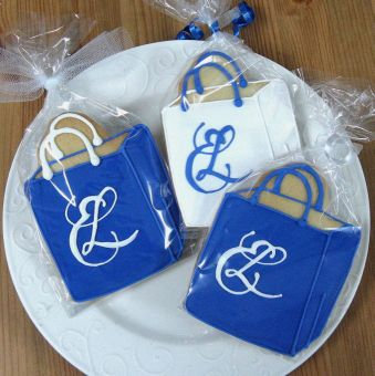 Shopping bag cookies, Custom company logo cookies, shopping bag