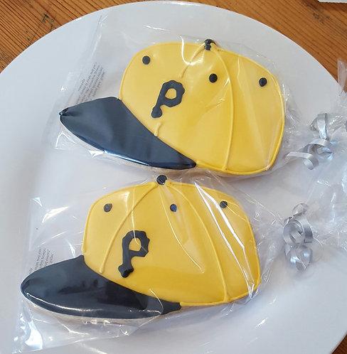 Baseball cap custom logo cookies, Ball cap cookies, personalized baseball cap cookies