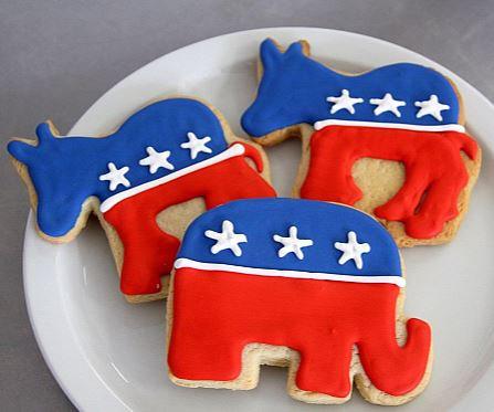 Republican Elephant cookie, Democrat Donkey cookie, Election cookies, political cookies, sugar cookies Los Angeles