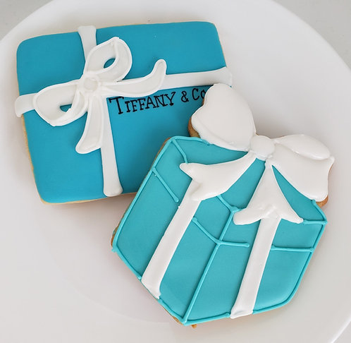 Tiffany cookies, wedding box cookies, blue box cookies, blue box party favors