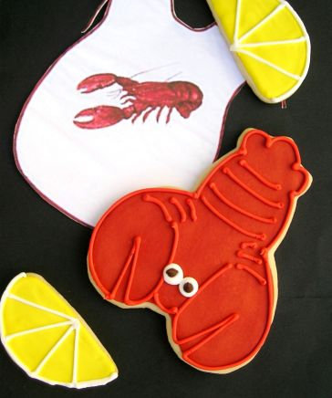 Lobster cookie, lemon slice cookies, Lobster boil cookies