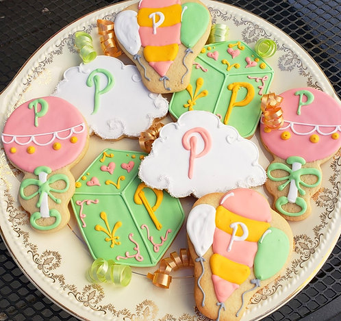 Balloon cookies, Rattle cookies, Block cookies, Oh the Places You'll Go cookies