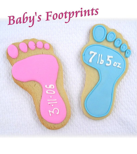 baby shower cookies, footprint cookies, baby shower cookies Los Angeles, footprint cookies for baby shower