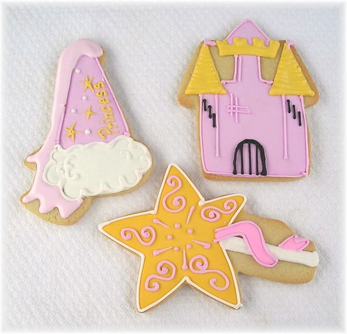 Princess hat cookies, princess wand cookies, castle cookies, pink party cookies, princess party cookies Los Angeles