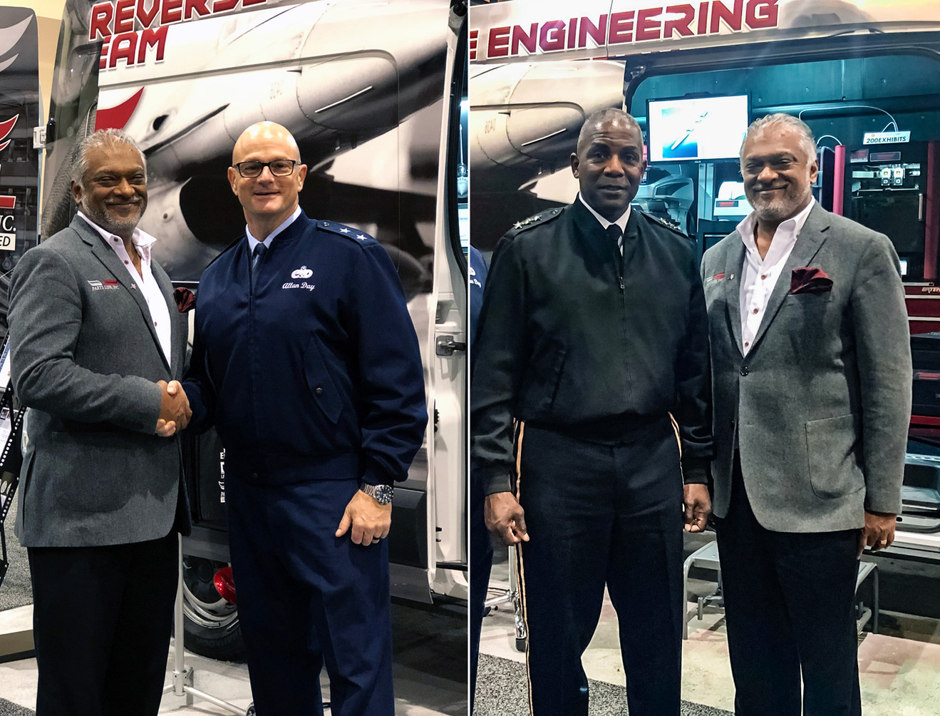 CEO Sam Thevanayagam with Major General Allan E. Day and Lietenant General Darryl A. Williams