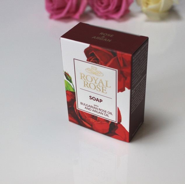 Royal Rose soap, made with Bulgarian rose oil and argan oil.100g
