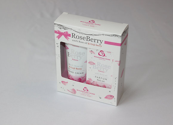 Rose Berry Gift set with roll-on perfume and hand cream