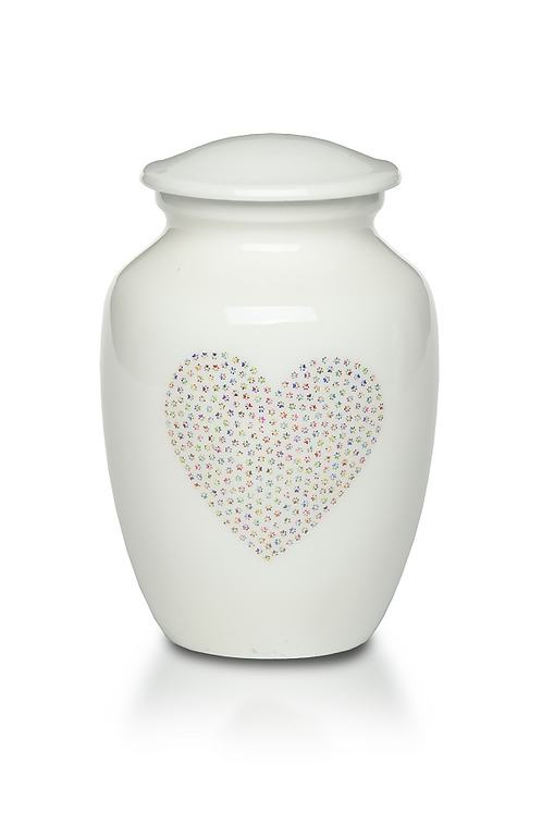 A-4000--PPH Sweet Paw Print Heart Pet Urn (small or medium)
