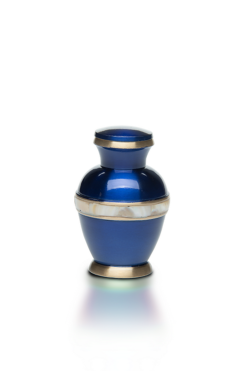 Jewel Tone Brass Cremation Urn with Mother of Pearl Band – KEEPSAKE – B-5000
