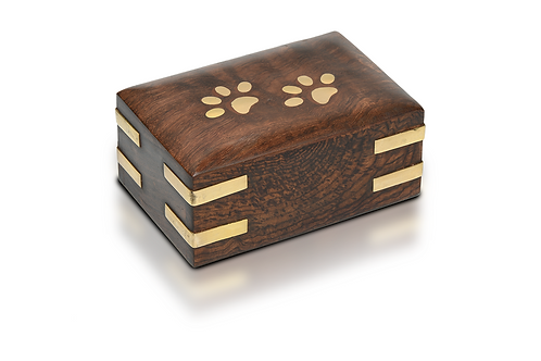 RW-PP-Extra Small - Wooden Pet Urn with Brass Paws and Brass Corners