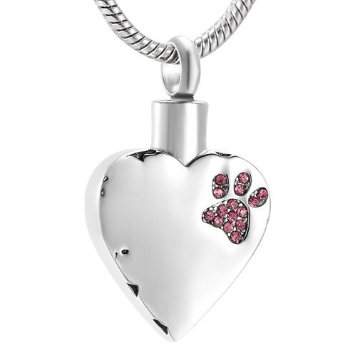 J-425-Pink Stainless Steel Cremation Urn Pendant with Chain – Heart – Pink Paw
