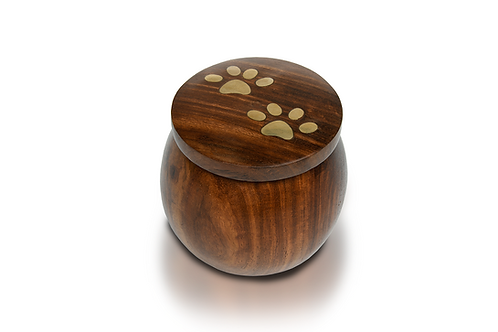"Rosewood ""Paw Pot"" Urn with Brass Paw Prints"