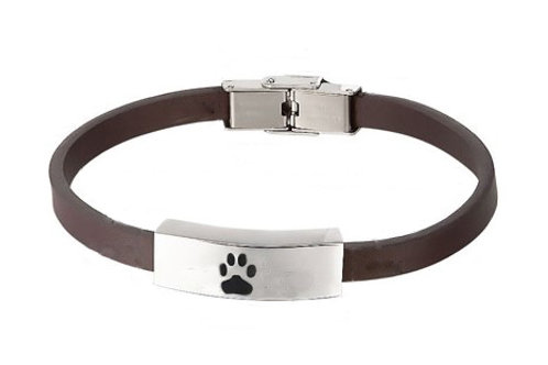 "Brown Leather 7.25"" or 8.5"" Bracelet with Paw"