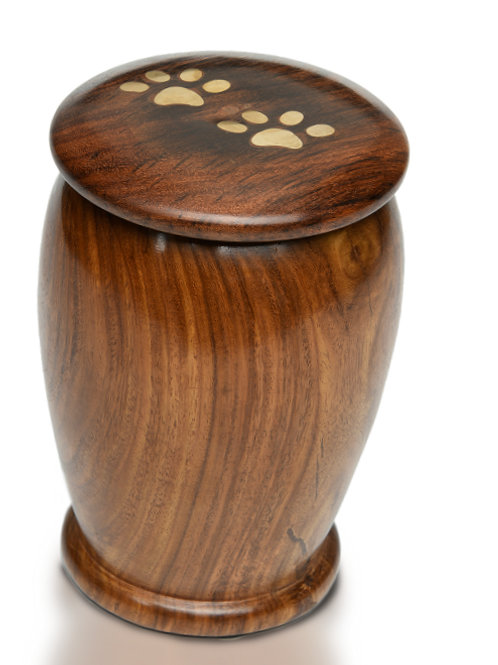 Rosewood Vase Urn with Brass Paw Prints #622