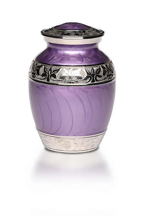B-1528 Elegant PURPLE Enamel and Nickel Cremation Urn –