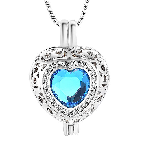 J-806  Cremation Urn Pendant with Chain –  Heart Locket & blue stone