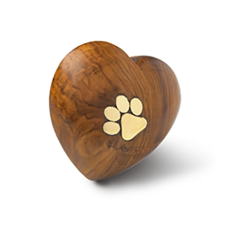 Rosewood Cremation Pet Urn – Keepsake Size - Heart with Brass Paw