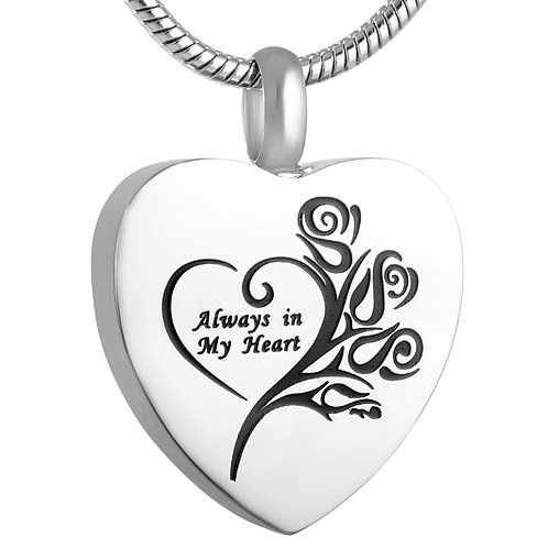 J-1075 – Stainless Steel Cremation Urn Pendant with Chain – Heart – Always in My
