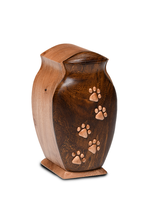 Black Walnut and Beech Wood  Pet Urn with Five Paws – V-5PPKL