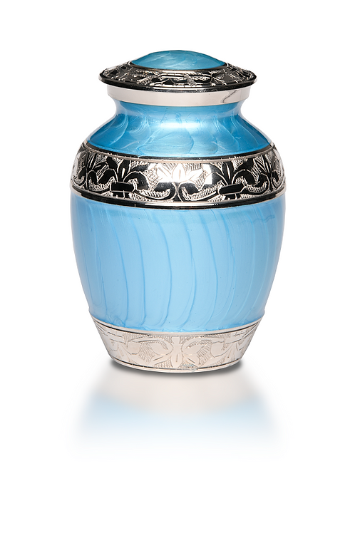 B-1528 Baby Blue Enamel and Silver Urn