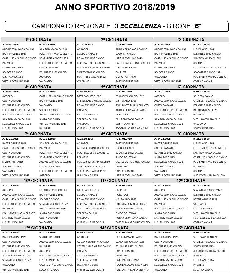 Calendario Eccellenza Girone B.Eccellenza Calendario Girone B