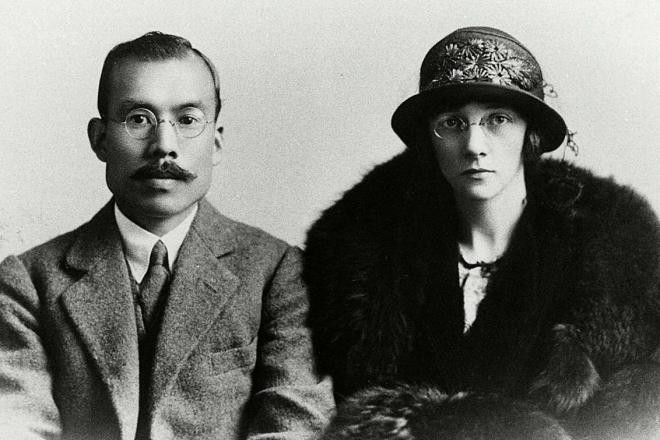 Taketsuru com a esposa, Rita. (imagem: acervo Nikka)
