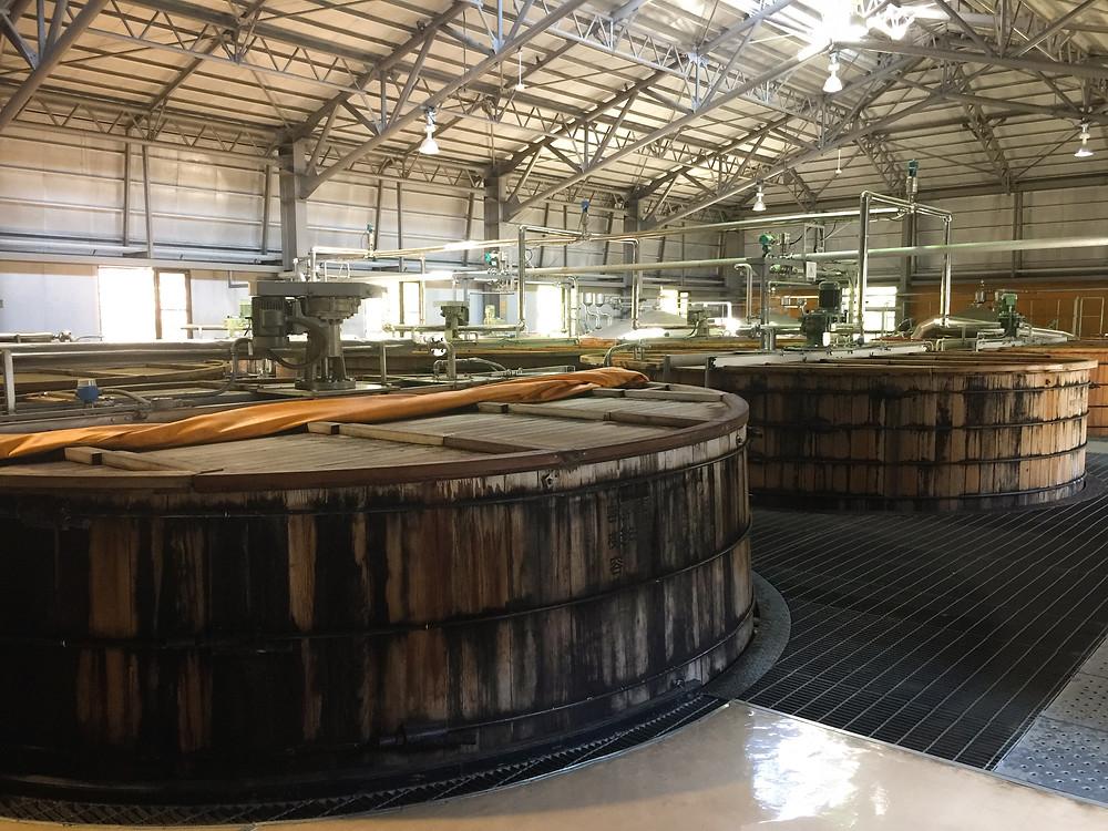 Barris de fermentação com capacidade para mais de 72 mil litros.