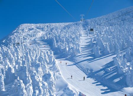 Visitantes esquiam entre os monstros de gelo. foto: Associação de Turismo de Zaō Onsen