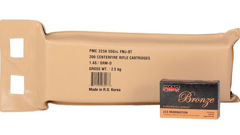 PMC Bronze 223 Remington  55 Grain Full Metal Jacket 200 Rounds Battle Pack